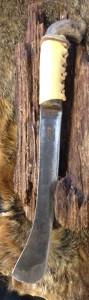 9071508 Antique Carbon Steel Blade, Original Wood Primitive Handle w/elk hide wrap., No Sheath. Overall Length: 14.0