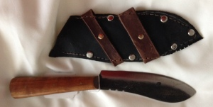 9051507 Jeff White Nessmuk , Carbon Steel Blade, Wood Handle, Leather Horizontal Belt Sheath. $40.00