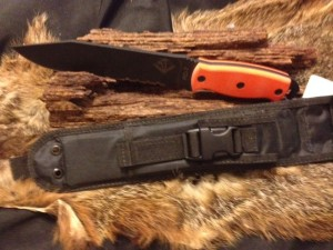 9101510 Ontario RD-7 Survival Knife. Painted Stainless Blade with Synthetic handle. Nylon Sheath. New Condition. Overall Length: 13